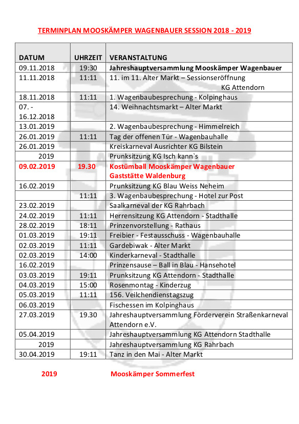 Terminplan Mooskämper Wagenbauer Session 2018 - 2019
